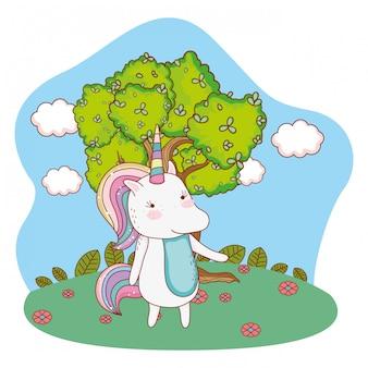 Fumetto di unicorno all'aperto
