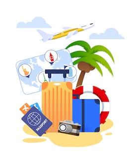 Fumetto di vacanze estive con elementi essenziali di viaggio e articoli turistici
