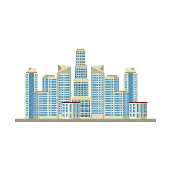 Fumetto di vista urbana del paesaggio delle costruzioni