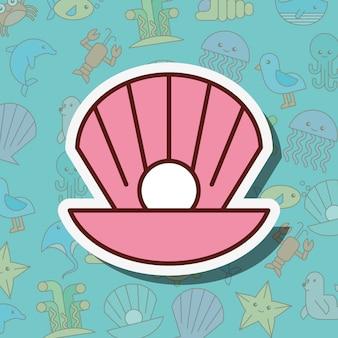 Fumetto di vita marina di conchiglia di perle