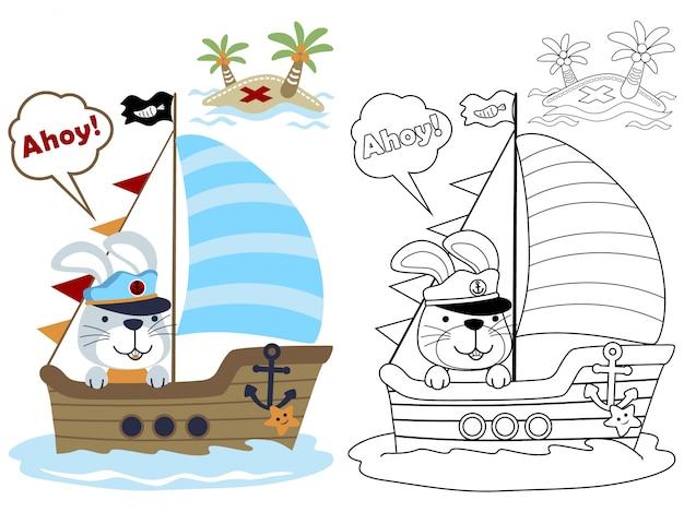 Fumetto divertente marinaio sulla barca a vela