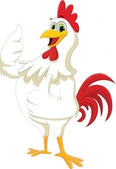 Fumetto felice del gallo che dà pollice in su