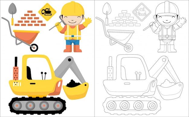 Fumetto felice dell'operaio con scavatrice