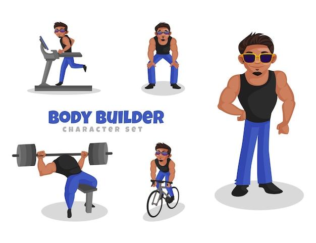 Fumetto illustrazione del set di caratteri body builder