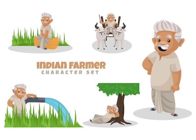 Fumetto illustrazione del set di caratteri contadino indiano