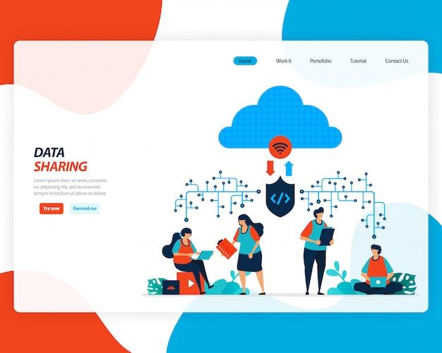 Fumetto illustrazione della tecnologia di condivisione dei dati, lavoratore remoto, industria di rete, persone che inviano file di lavoro. il miglioramento del cloud da caricare è efficace.