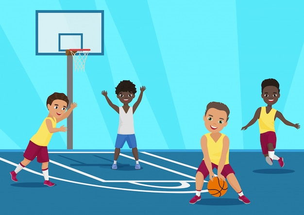 Fumetto illustrazione di bambini che giocano a basket a scuola.