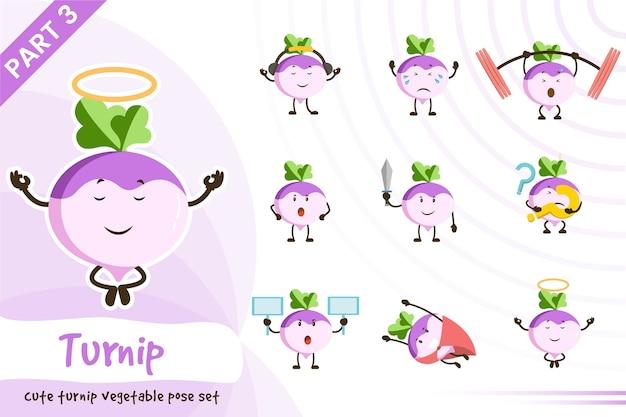 Fumetto illustrazione di carino set di verdure rapa