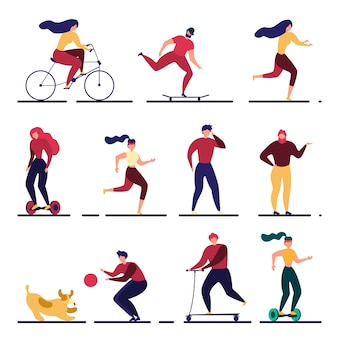 Fumetto illustrazione di persone attive piatte all'aperto