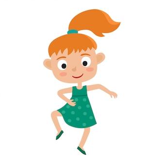 Fumetto illustrazione di piccola ragazza-ballerina dai capelli rossi isolata on white. piccola ragazza felice con la coda di cavallo che balla e che sorride. bella danza.