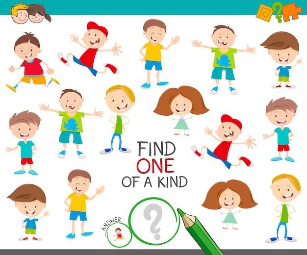 Fumetto illustrazione di trovare uno di un tipo di gioco educativo di immagine con personaggi divertenti bambini