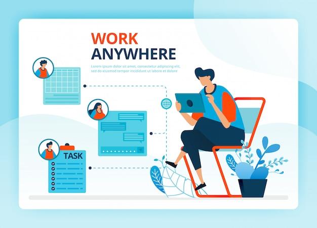 Fumetto illustrazione umana per lavorare ovunque e lavori freelance.