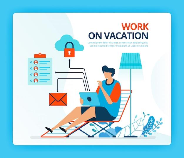Fumetto illustrazione umana per lavoro in vacanza e lavoro straordinario.
