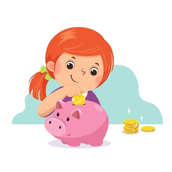 Fumetto illustrazione vettoriale di una bambina che mette moneta nel salvadanaio.