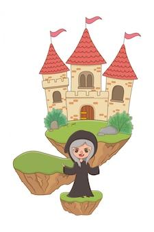 Fumetto medievale della strega dell'illustrazione di favola