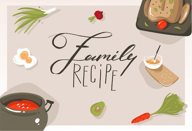 Fumetto moderno astratto di vettore disegnato a mano illustrazioni di concetto di classe di cucina con cibo, verdure e calligrafia scritta a mano ricetta di famiglia isolata su sfondo grigio