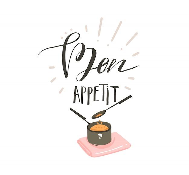 Fumetto moderno astratto disegnato a mano che cucina illustrazioni di concetto con piatto di minestra crema e calligrafia manoscritta bon appetit isolato su priorità bassa bianca