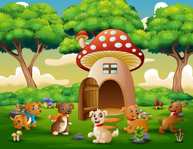 Fumetto molti cane vicino alla casa dei funghi rossa