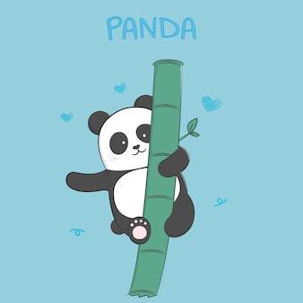Fumetto pastello del panda sveglio del bambino