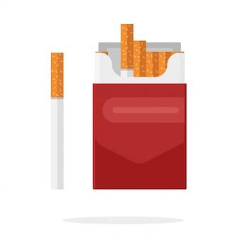 Fumetto piano del contenitore di cartone di vettore del pacchetto di sigarette