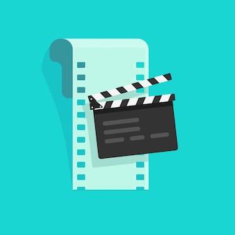 Fumetto piano dell'illustrazione di vettore dell'attrezzatura del cinema o del film online
