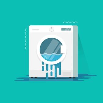 Fumetto piano dell'illustrazione di vettore rotto o nocivo della lavatrice