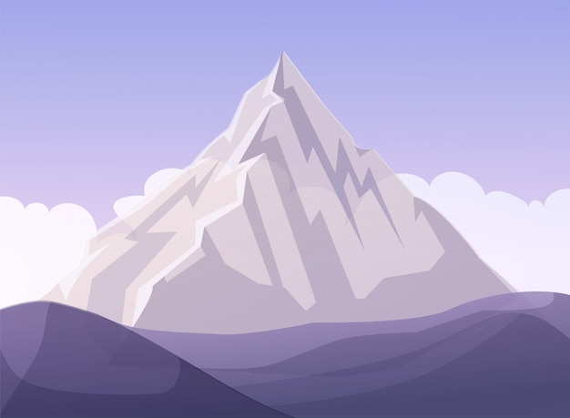 Fumetto piano della metafora di affari della montagna