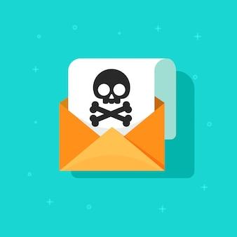 Fumetto piano di vettore di concetto del messaggio del email e della truffa o dello spam