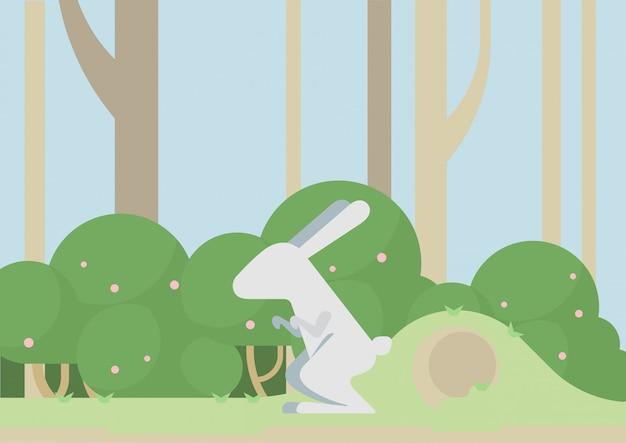 Fumetto piatto coniglio lepre coniglio, animale selvatico nella foresta.