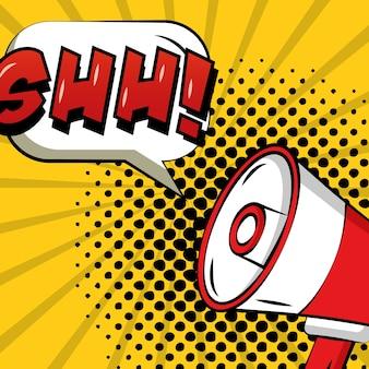Fumetto pop art comico megafono annunciando ahh