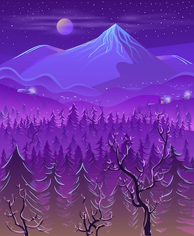 Fumetto selvaggio del paesaggio notturno della terra del nord