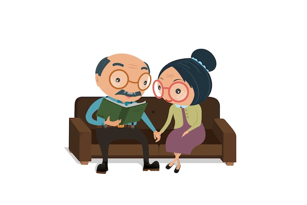 Fumetto senior delle coppie che si siede sul sofà