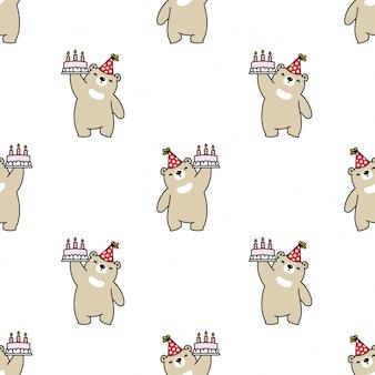 Fumetto senza cuciture della torta di compleanno dell'orso