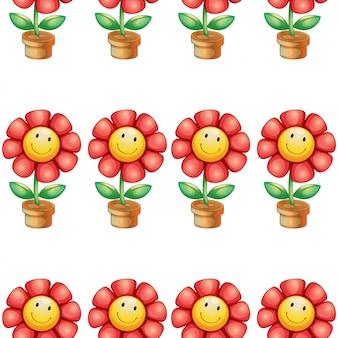 Fumetto senza cuciture delle mattonelle del modello con il vaso di fiore del giocattolo