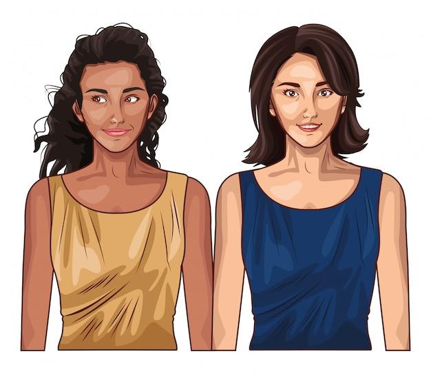 Fumetto sorridente dei modelli delle donne di pop art