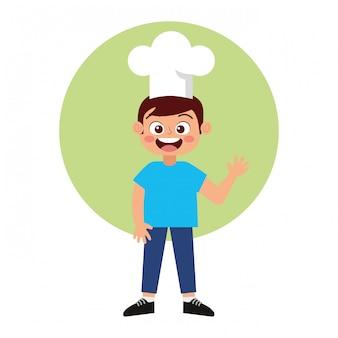 Fumetto sorridente del cuoco unico felice del bambino