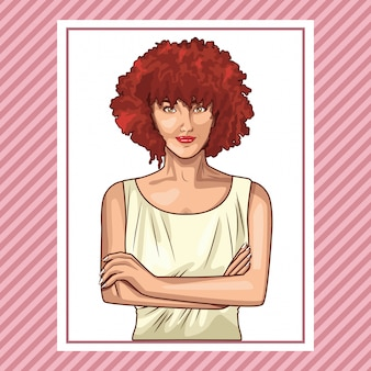 Fumetto sorridente della bella donna di pop art