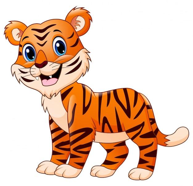 Fumetto sorridente della tigre isolato su bianco