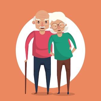 Fumetto sorridente delle belle coppie anziane