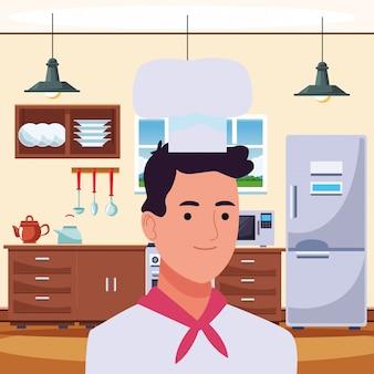 Fumetto sorridente di profilo dell'uomo professionale del cuoco unico