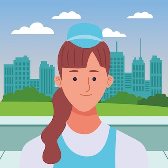 Fumetto sorridente di profilo della donna dell'infermiera