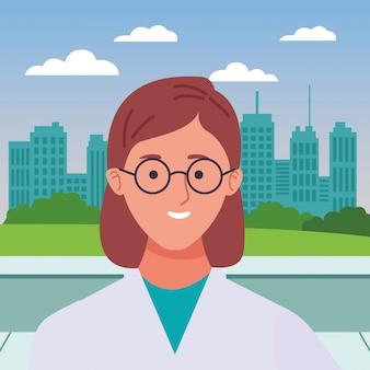 Fumetto sorridente di profilo della donna di medico
