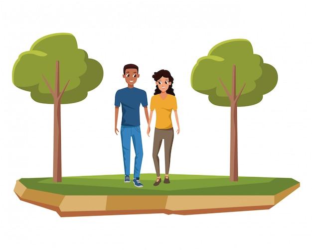 Fumetto sorridente e di camminata delle giovani coppie