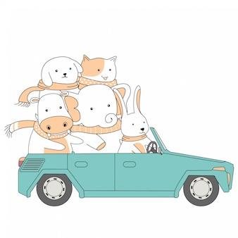 Fumetto sveglio degli animali di insieme dell'automobile di giro di amicizia disegnata a mano