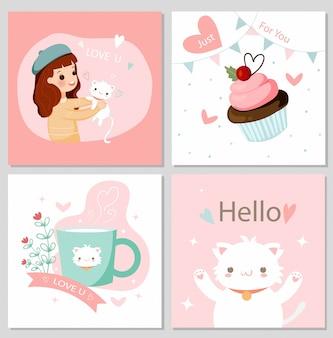 Fumetto sveglio degli elementi del gatto e del biglietto di s. valentino della ragazza e del gattino