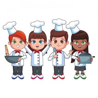 Fumetto sveglio dei bambini del cuoco unico
