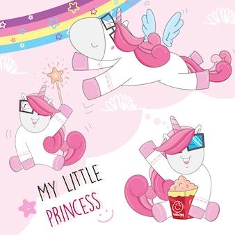Fumetto sveglio del bambino dell'unicorno disegnato a mano