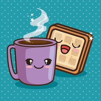 Fumetto sveglio del cibo della prima colazione di kawaii