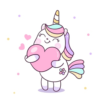 Fumetto sveglio del cuore dell'abbraccio di vettore dell'unicorno
