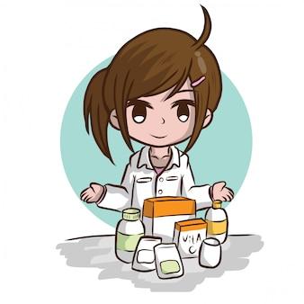 Fumetto sveglio del farmacista., concetto di lavoro.